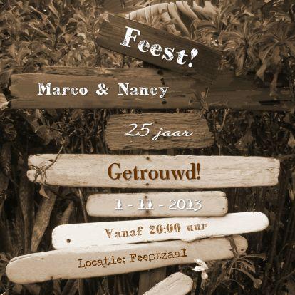 FEEST paal met drijfhout SEPIA - Uitnodigingen - Kaartje2go