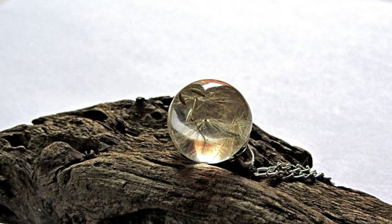 New to ArtOreCrafts on Etsy: Small charm dandelion necklace Tiny wish pendant Resin Transparent jewelry Delicate ball pendant real flower wish gift charm pendant (22.00 USD)