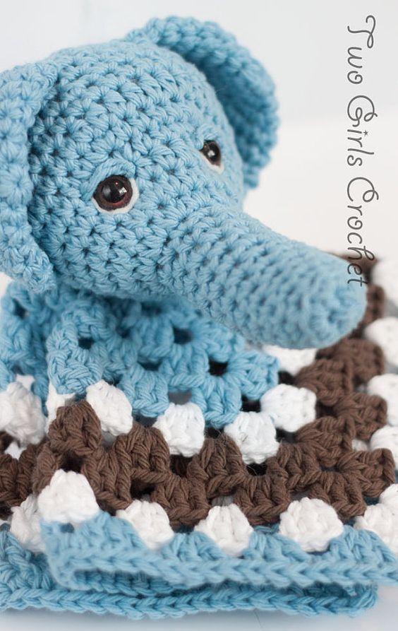 Elephant Crochet Security Blanket Elephant Lovey Baby