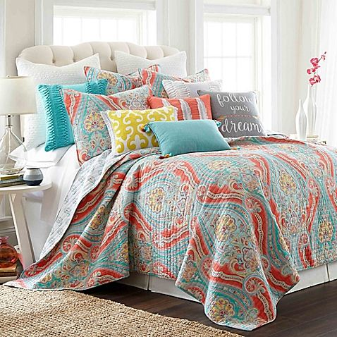 Levtex Home Sherie Reversible Quilt Set In Coral Blue Bright Bedding King Quilt Sets Quilt Sets