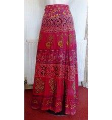 70s boho ethnic print wrapover maxi skirt