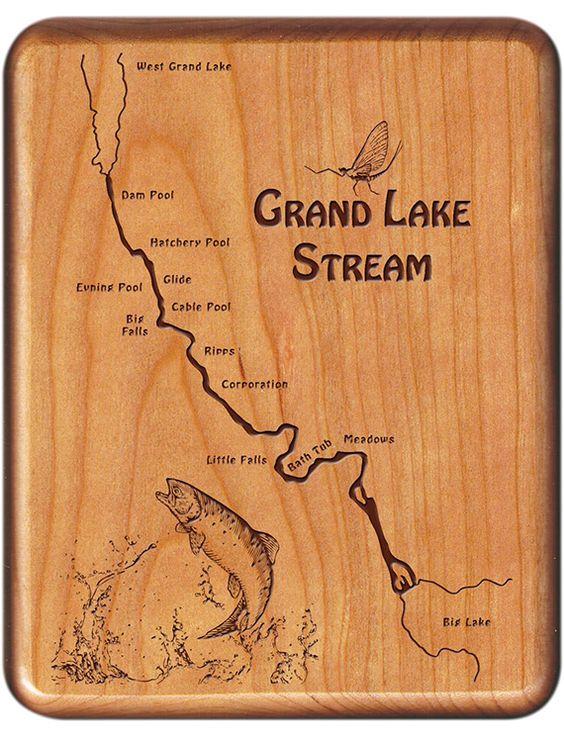 Grand Lake Stream River Map Fly Box - Maine