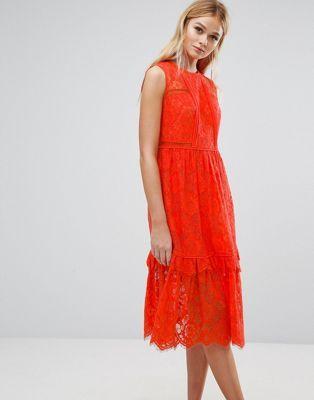 Кружевное платье миди со вставками Whistles:
