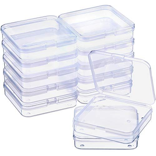 Satinior 12 Pack Clear Plastic Beads Storage Containers Box With Hinged Lid For Beads And More 2 75 Bead Storage Plastic Container Storage Plastic Box Storage