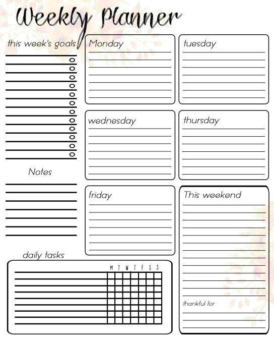 Free Printable Weekly Planner Weekly Planner Free Printable