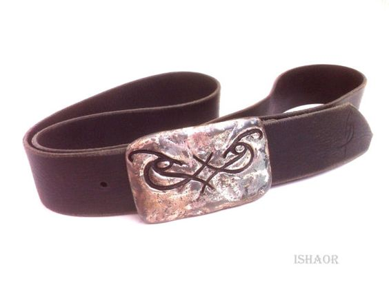 Handmade Black Mens Leather Belt with designed silver buckle Vintage look by Ishaor