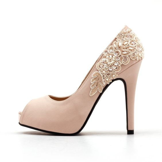 Nude Peep Toe Wedding Heel with Lace & Beadwork, Nude Bridal Heel ...