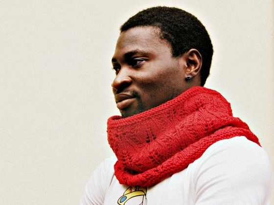 Red Cowl Knitted - Unisex cozy gift - Block color merinos lace style $59.00