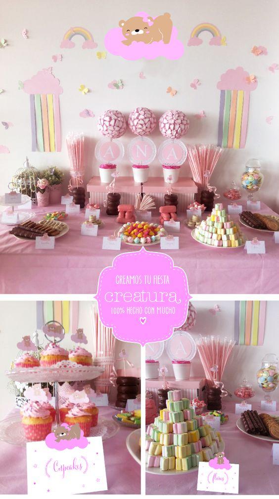 Mesa dulce oso y arco iris en tonos pasteles para una for Mesas dulces comunion nina