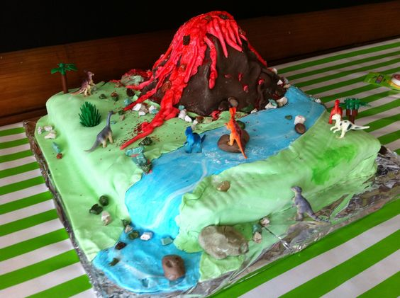 """You absolutely POSITIVE you want a volcano cake then?"" Linus' 6th bday cake"