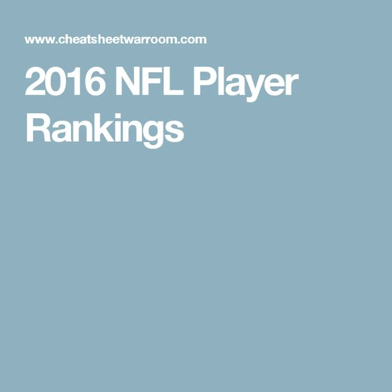 2016 NFL Player Rankings