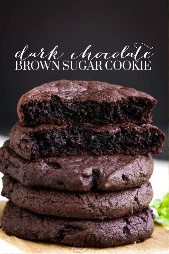 Dark Chocolate Brown Sugar Cookies have the perfect chewy texture on the