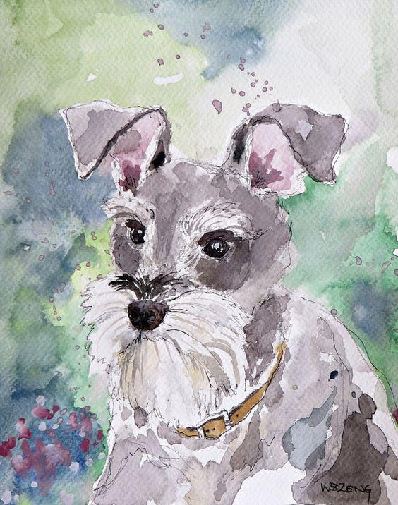 Waiting. Original Watercolor Art. 8in x by DoginWatercolorArt, $20.00