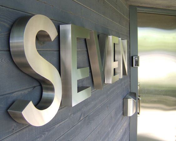 seven stainless house letters neutraface