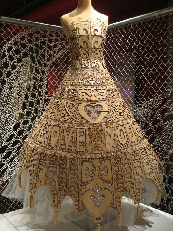 """This wooden """"lace"""" gown by On Aura Tout Vu is on display at the Lace and Fashion Museum in Calais, France."""