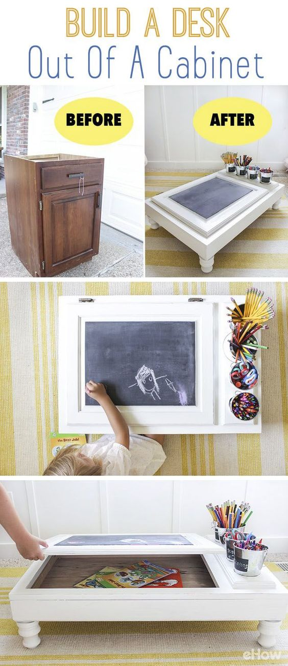 Never throw away old furniture and pieces like an old cabinet! Upcycle an unfinished cabinet into the perfect work station with a built in desk organizer and storage! How amazing is this? Full DIY here: http://www.ehow.com/how_6158254_build-out-stock-unfinished-cabinets.html?utm_source=pinterest.com