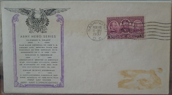 ARMY HERO'S Grant, Sherman, Sheridan 1937 First Day Of Issue Cover 3 Cent Stamp