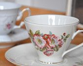Mix and match tea set pink and gold