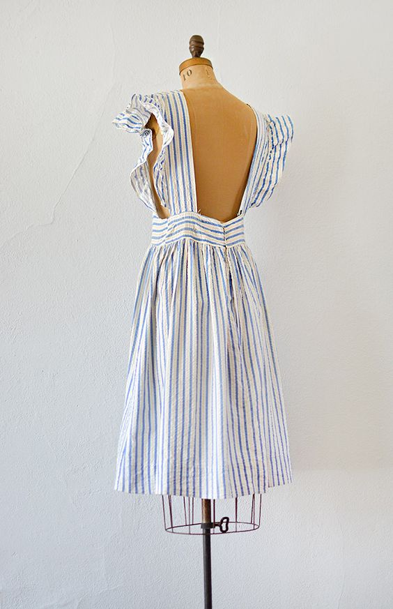 vintage 1940s blue striped seersucker pinafore dress - Click Image to Close: