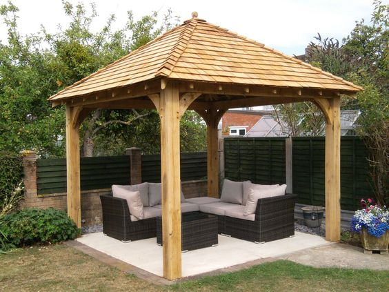 Oak gazebo 3mx3m including cedar shingles diy kit cedar for Rustic gazebo kits