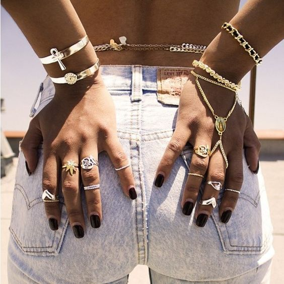 Shorts: jewels dope wishlist summer accessories polyvore gold bracelets ring body chain ring jewelry