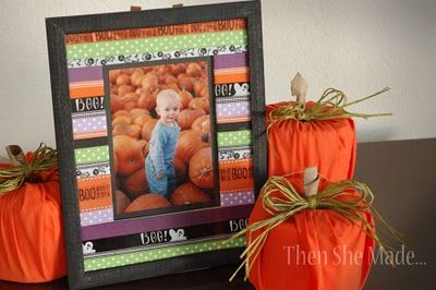 This ribbon frame is Halloween decorated, but this could easily be done for Christmas, or just with non-holiday specific ribbon and would make a great gift!
