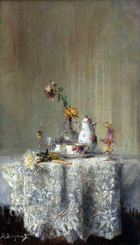 Pierre-Denis Bergeret (1844-1910)  — Still Life  (457x800)