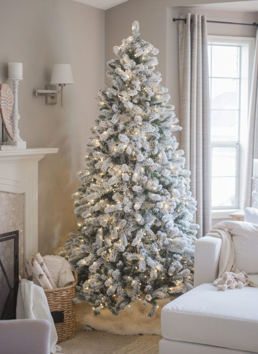 10 Foot King Flock Artificial Christmas Tree With 1250 Warm White Led Lights Lights King Of Christmas Flocked Artificial Christmas Trees Snowy Christmas Tree Christmas Decorations Living Room