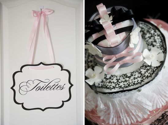 French inspired baby shower-- Love the signs throughout the house