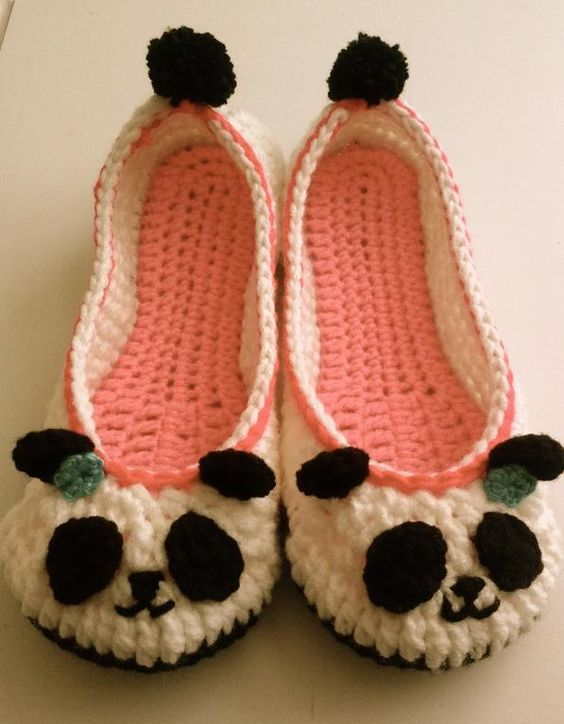 Panda Slippers by prettythings55 | Crocheting Pattern - Looking for your next project? You're going to love Panda Slippers by designer prettythings55. - via @Craftsy