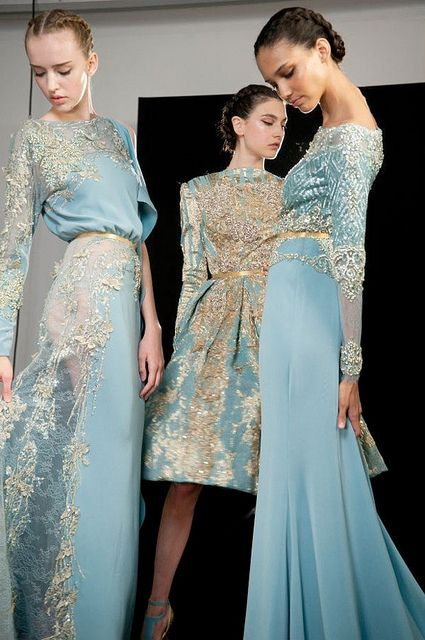Elie Saab - blue &amp- gold - gowns - dresses - {places : backstage at ...