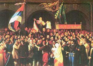 """13. maja 1848. u Sremskim Karlovcima počelo zasedanje """"Majske skupštine"""" na kojoj su delegati 175 crkvenih opština iz Vojvodine i Srbije izabrali Josifa Rajačića za patrijarha, a pukovnika Stevana Šupljikca za vojvodu. Skupština je 15. maja proglasila Srpsko Vojvodstvo, ali austrijska i mađarska vlada nisu priznale srpsku autonomiju."""