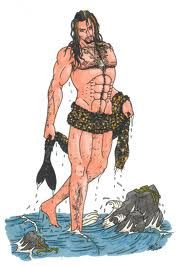 A male selkie who was once a seal but who has removed his skin, transfigured into a human and come ashore...