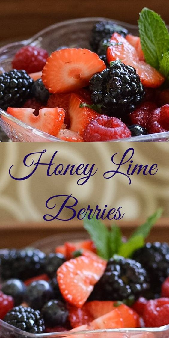 Honey Lime Berry Salad a sweet and refreshing berry recipe for any brunch or luncheon.  Serve this colorful mixed berry salad with it's light honey lime syrup with any meal.