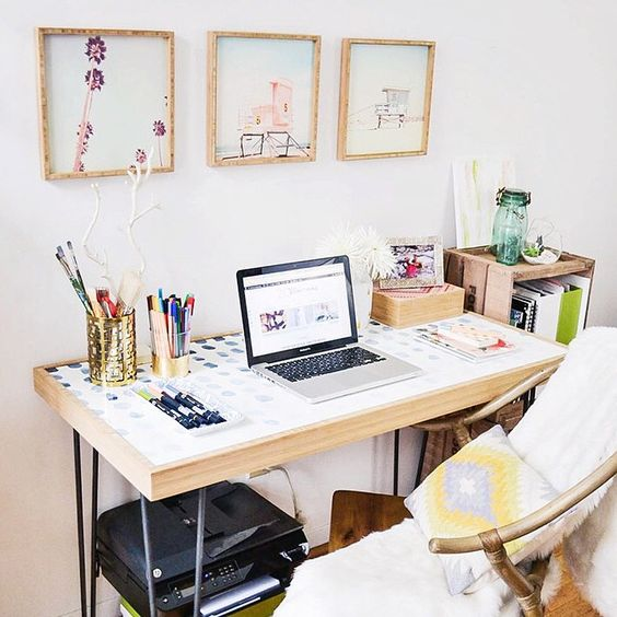 A sneak peek of my new @denydesigns desk and framed prints! More to come next week. Can't get enough of this site! #newobsession #homedecor #homeoffice