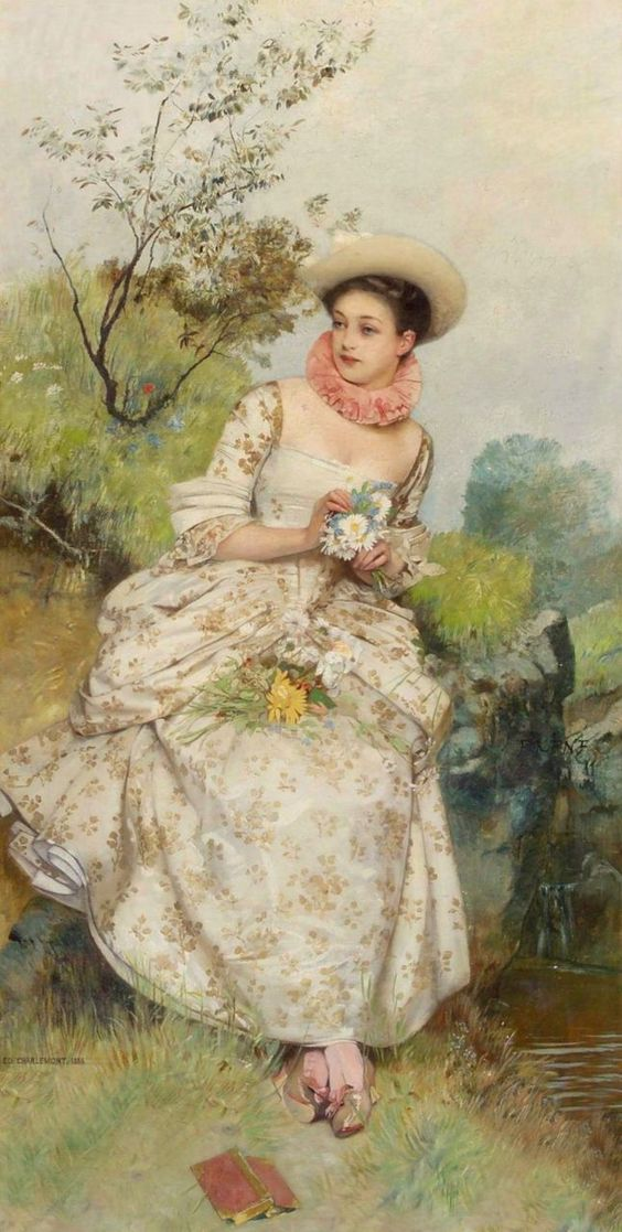 Eduard Charlemont - Portrait of a lady holding daisies