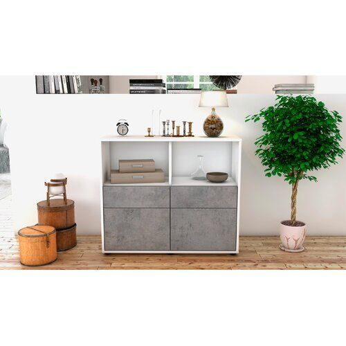 Quint Sideboard Mercury Row Body And Front Colour White Concrete Body Colour Flurfarbe Front Mercury Quint Row Sidebo In 2020 Sideboard Weiss Badezimmer Holz