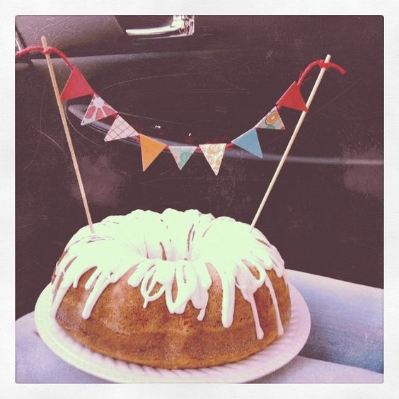 bundt cake with flag banner