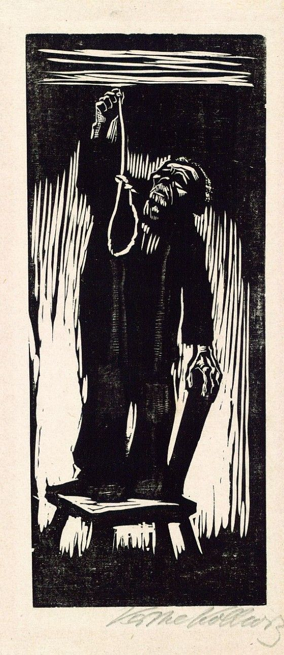 After the end of the Great War, Germany experienced huge economic difficulties. Artist Kathe Kollwitz, a German native, saw the desperation and hopelessness prevalent in her fellow Germans. Woodcut, The Last Thing,: