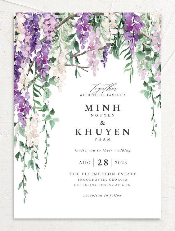 Romantic Wisteria Wedding Invitations The Knot Watercolor Floral Wedding Invitations Digital Invitations Wedding Flower Wedding Invitation