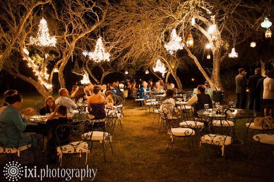 10 Romantic Outdoor Wedding Venues: Outdoor Lighting. Love The Chandeliers!