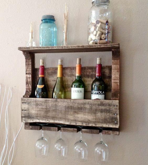 Small 4 bottle reclaimed wood wine rack with shelf jars for Wine bottle shelf diy