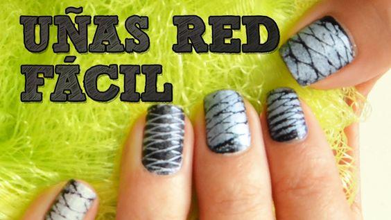 UÑAS DE RED FÁCIL | Uñas decoradas DIY | Decoración de uñas con esmalte ...
