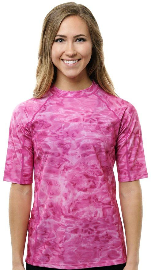Aqua design women loose fit rash guard swim surf short for Womens rash guard shirts