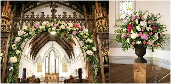 Arco y copón, Iglesia Anglicana, Valparaìso. #church #deco #flowerarch #hidrangeas