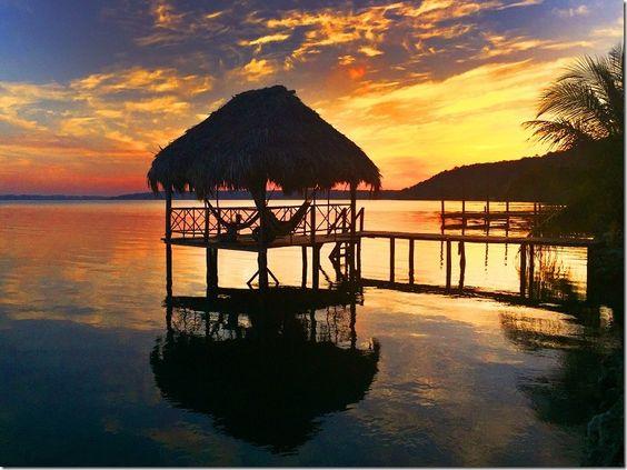 #Guatemala sunset over lake Petén Itzá #holidays #tikal #paradise