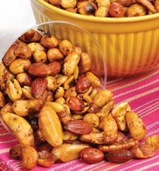 Sweet 'n' Spicy BBQ Roasted Nuts - This tangy party snack can be prepared on the grill or oven-baked