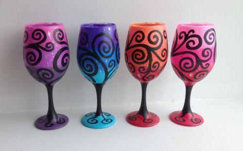 Hand-Painted-Swirl-Wine-Glasses-Set-of-4-Starry-Night-Wine-Glasses-Wine-Lover