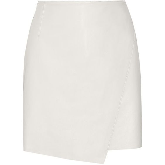 Helmut Lang Wrap-effect leather mini skirt (¥33,505) ❤ liked on Polyvore featuring skirts, mini skirts, bottoms, saias, white, white mini skirt, short leather skirt, short skirts, stretch mini skirt and short mini skirts