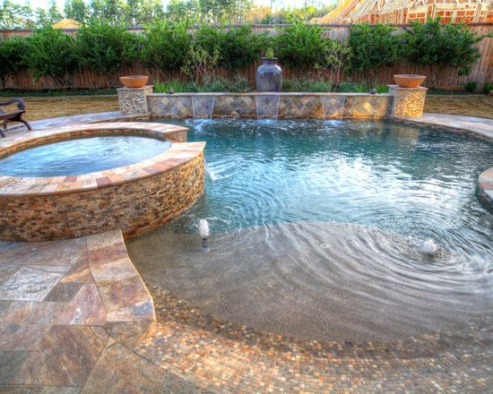 Beach entry pool design trophy wife in training for Pool design certification